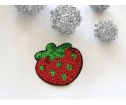 Patch mit Pailletten - Erdbeere