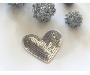 Patch mit Pailletten - Herz silber