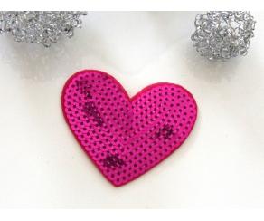 Patch mit Pailletten - Herz pink