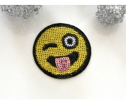 Patch mit Pailletten - Smiley