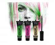 Paint Glow - Glow in the Dark  Haar Mascara 3er Set